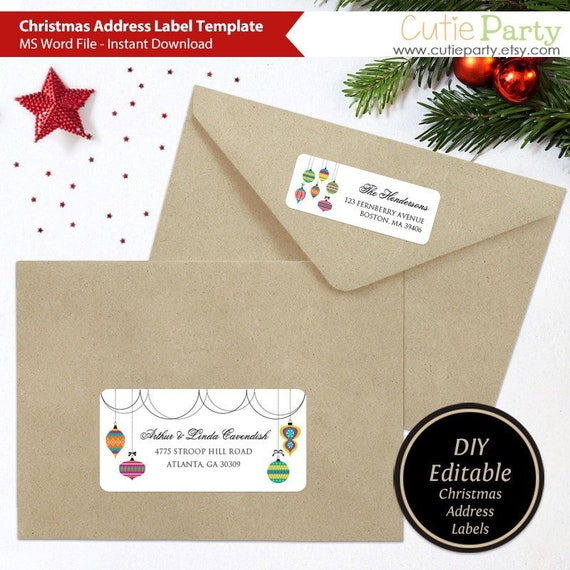 Christmas Address Label Template Editable Return Address Etsy