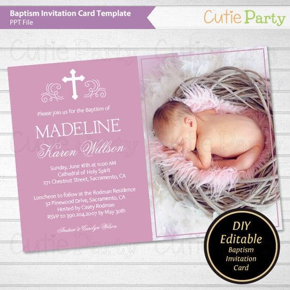 Baptism Photo Card Invitation Printable Purple Baptism Photo Card Invitation Template Christening Invitation Template Instant Download