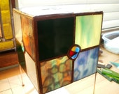 Mostly Blue and Green Stained Glass Cube Lamp