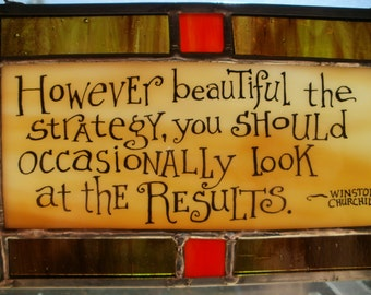Winston Churchill quote in Stained Glass