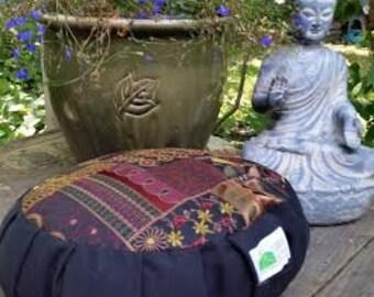 Meditation Cushion- Fair Trade Patchwork pattern with plain sides and bottom- Zafu
