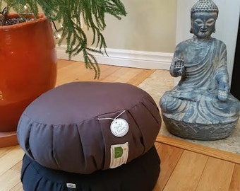 Meditation Cushions-Plain Coloured Twill Zafus for the Austere Meditator. K.I.S.S. Burgundy, Sage Green,  Brown, Gray and Black