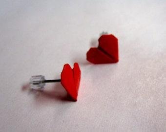 Origami Red Heart Stud Earrings