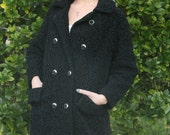 1950s Persian Black Lamb Coat - VINTAGE Astrakhan Coat - Gorgeous Black Double Breasted Coat with Silver Studded Buttons and Large Collar