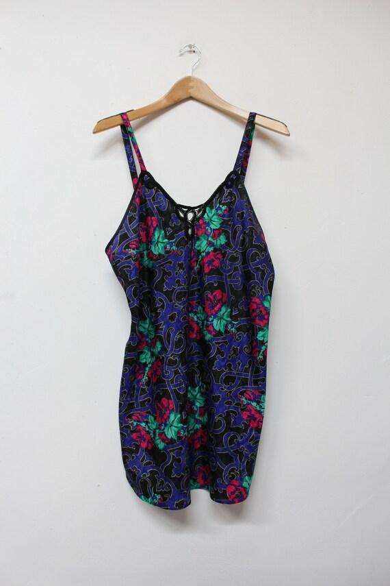 80s Dark Floral Slip Dress - Bold Floral Slip Dre… - image 3