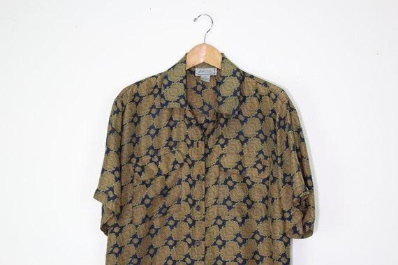 90s Earth Tone Silk Short Sleeve Button Up Shirt -