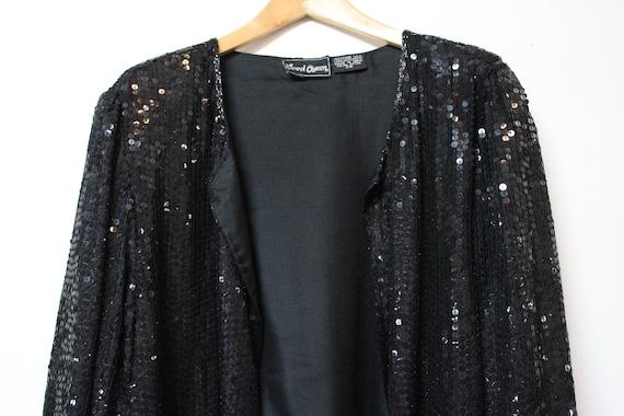 90s Black Sequin Cardigan - Made in India - 100% … - image 5