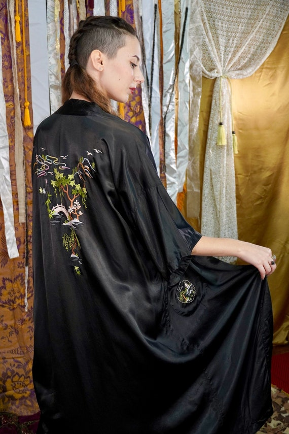 Hand Embroidered Black Chinese Robe - Black Silky