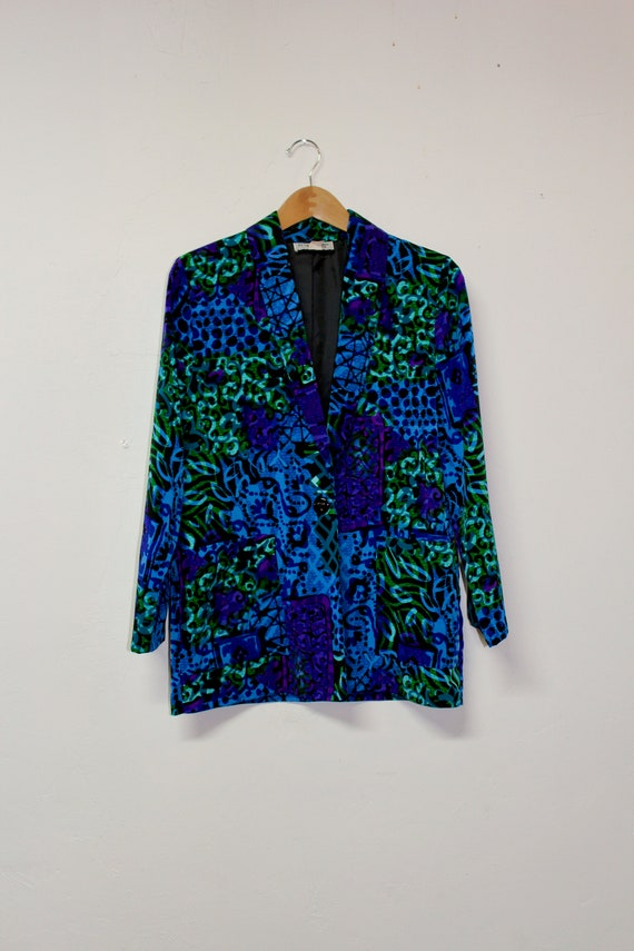 90s Abstract Watercolor Blazer - 80s Watercolor Bl