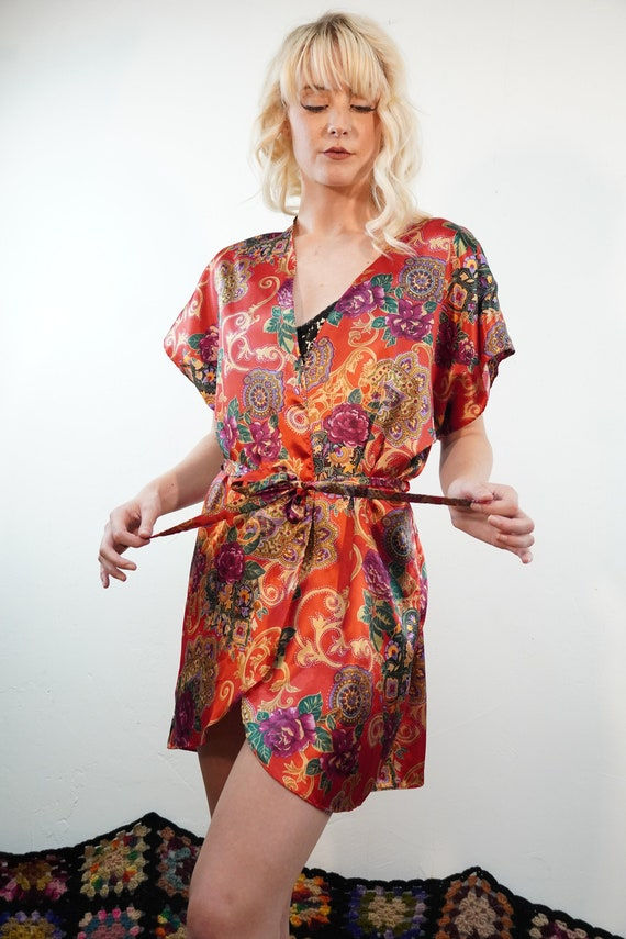 90s Silky Paisley Robe - Red Paisley Robe - Floral