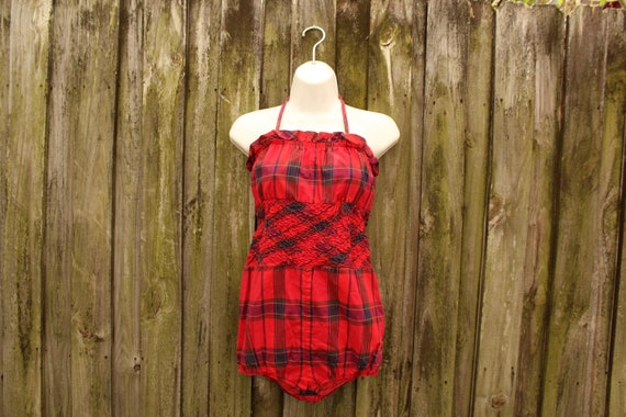 1950s Antique Plaid Bathing Suit - Retro Cotton Ba