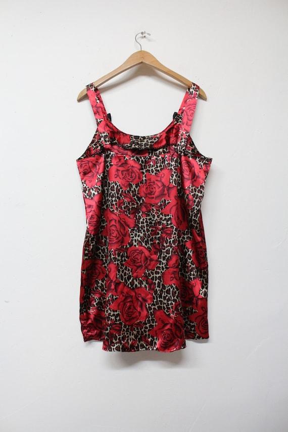 90s Red Rose Leopard Print Slip Dress - Bold Flor… - image 7