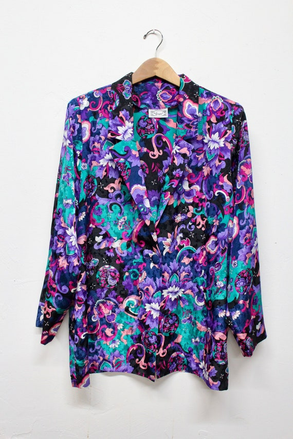90s Bold Floral Blazer - 80s Abstract Blazer - Tri