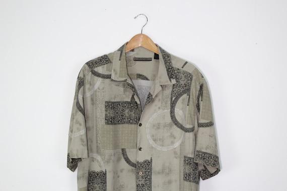 90s Silk Short Sleeve Button Up Shirt - 90s Trippy