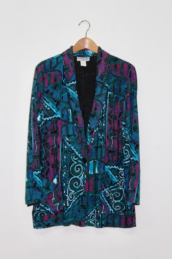 90s Dark Abstract Blazer - 90s Abstract Blazer - 9