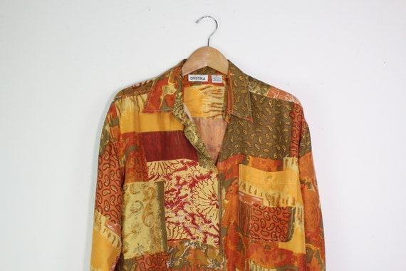 Paisley and Mixed Print Silk Shirt - Vintage 90s S