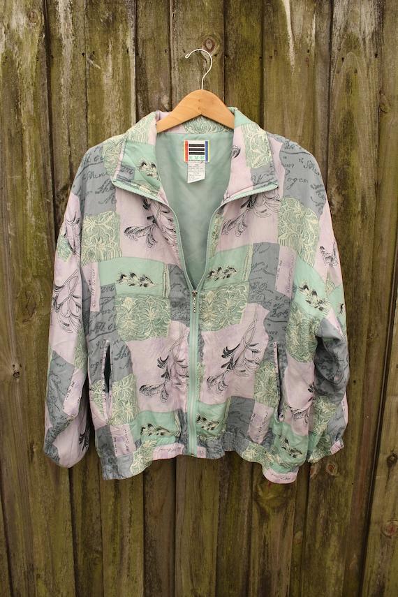 90s Silk Track Jacket - Vintage Silk Windbreaker -