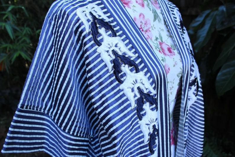 Egyptian Cotton Plus Size Robe Silk Embroidery Plus Size Festival Robe Blue and White Silk Robe Silk Plus Size Embroidered Robe