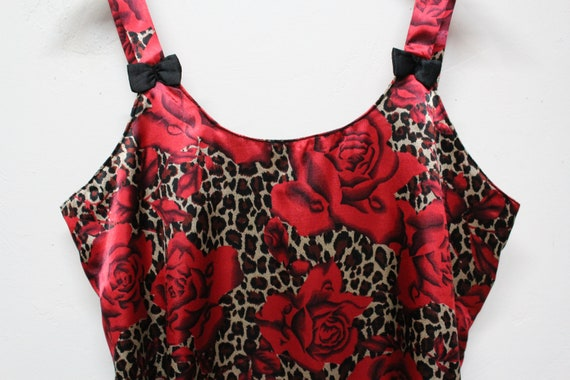90s Red Rose Leopard Print Slip Dress - Bold Flor… - image 6