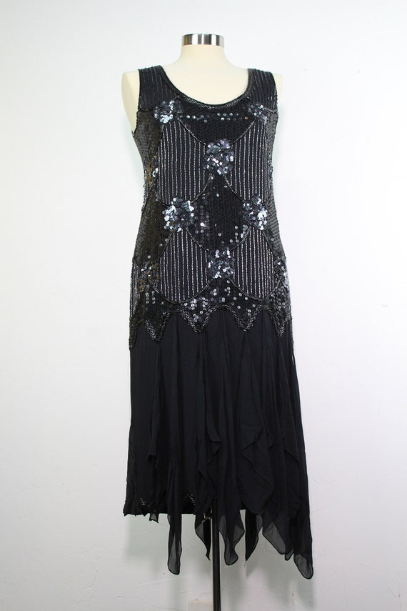 90s Reproduction 20s Flapper Dress - Beaded Flappe