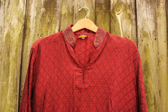 Vintage Indian Style Tunic - Burgundy Tunic Dress