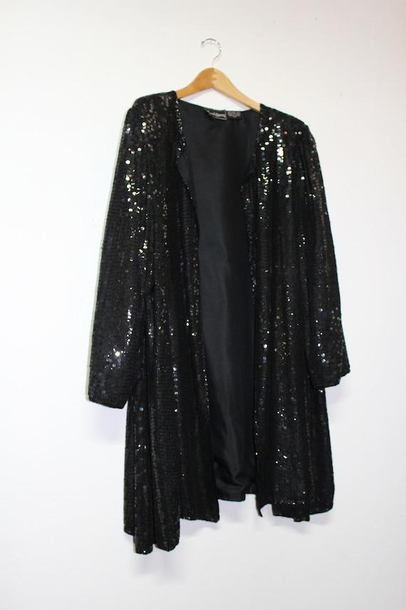 90s Black Sequin Cardigan - Made in India - 100% … - image 4