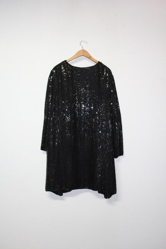 90s Black Sequin Cardigan - Made in India - 100% … - image 10