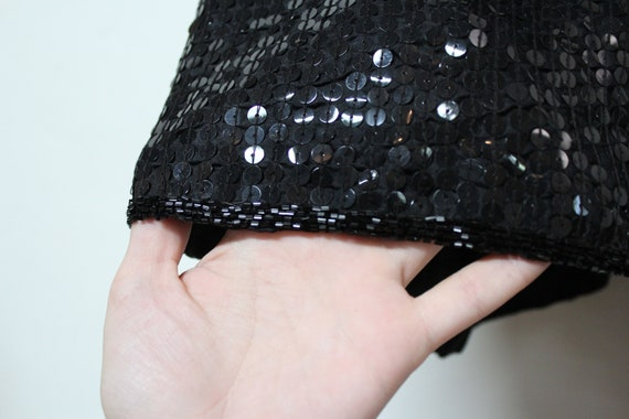 90s Black Sequin Cardigan - Made in India - 100% … - image 8
