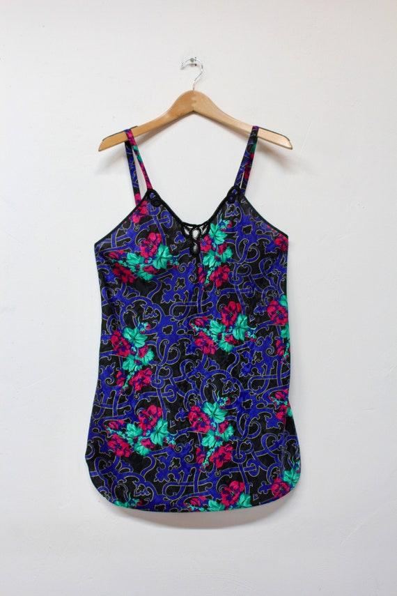 80s Dark Floral Slip Dress - Bold Floral Slip Dre… - image 1