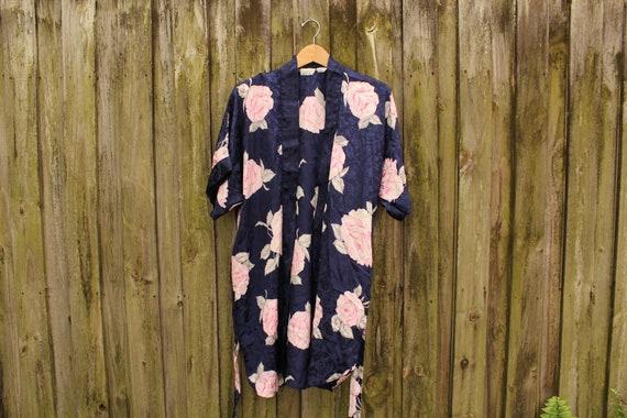 90s Silky Floral Robe - Dark Floral Robe - 80s Flo