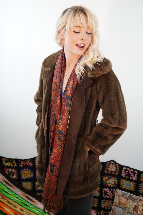 60s Faux Fur and Suede Jacket - Vintage Faux Fur C