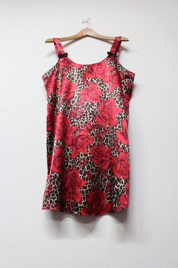 90s Red Rose Leopard Print Slip Dress - Bold Flor… - image 3