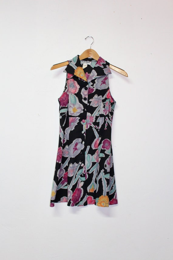 90s Floral Button Up Dress - Vintage Sleeveless Dr