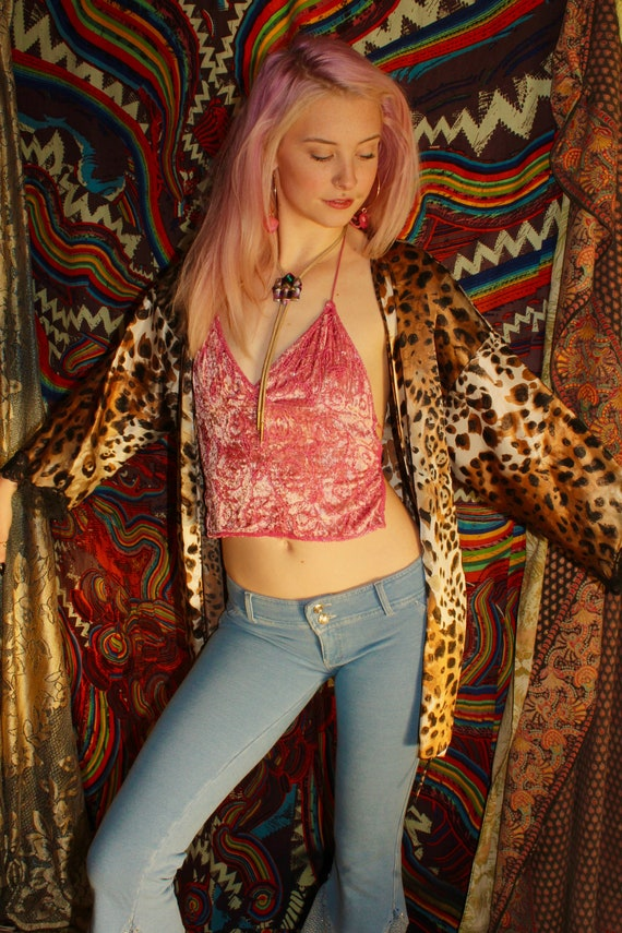 90s Beaded Velvet Halter Top - Pink Velvet Halter