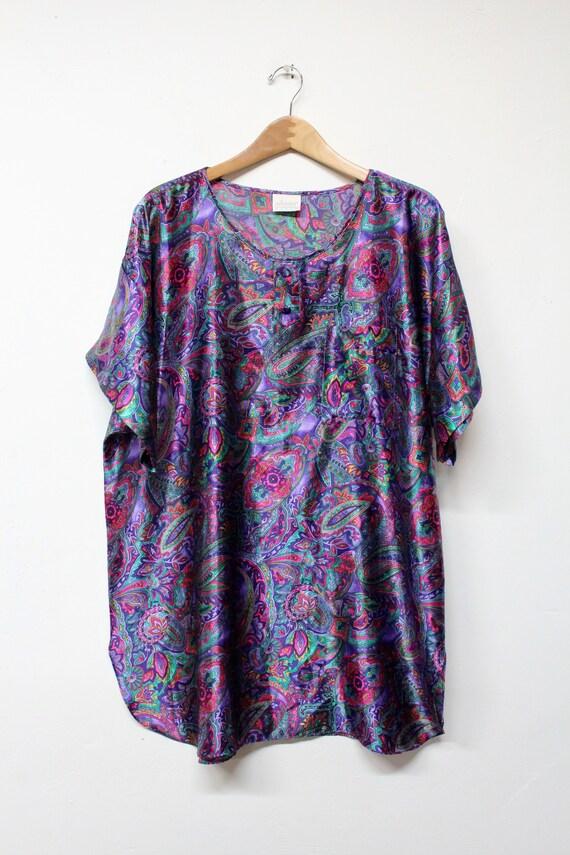 90s Silky Paisley Sleep Shirt - Psychedelic Paisle