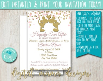 46041681b9a INSTANT ACCESS - Mickey Minnie Bridal Shower Invitation - Minnie Mouse Shower  Invitation - Disney Bridal Shower Invite - Customize on Corjl