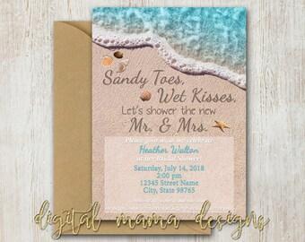 Beach bridal shower etsy beach themed bridal shower invitation summer beach theme party invite ocean bridal shower invitation personalized digital download filmwisefo