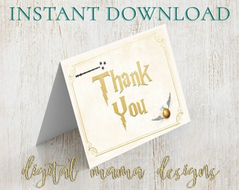 instant download harry potter bridal shower thank you card bridal shower thank you note harry potter invitation digital download