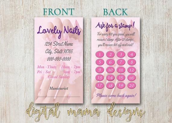 Nail Salon Loyalty Punch Card Nail Salon Business Card Etsy