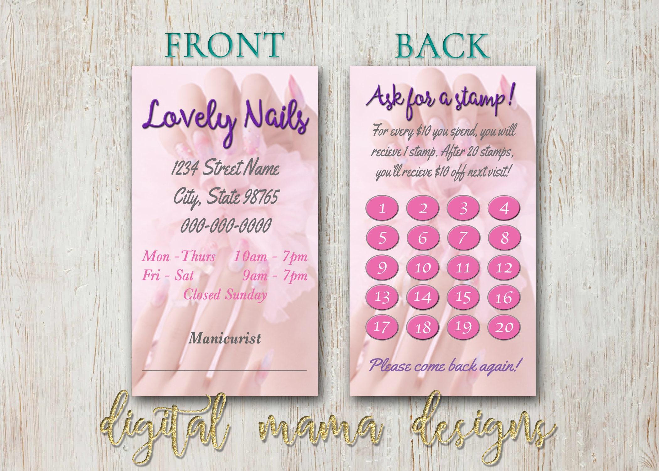 Nail salon loyalty punch card nail salon business card etsy zoom colourmoves