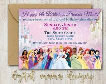 Princess Birthday Party Invitation - Girl Disney Princess Party Invitation - Fairy Tale Princess Birthday Invitation - Digital Download