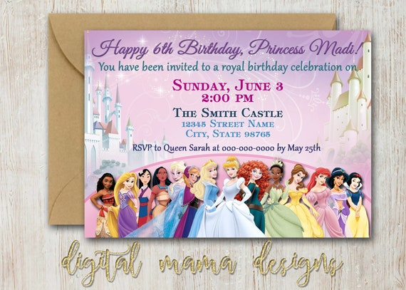 Princess Birthday Party Invitation Girl Disney