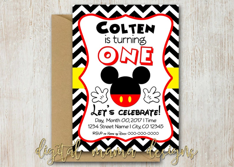 Mickey Mouse Birthday Party Invitation 1 Year Old