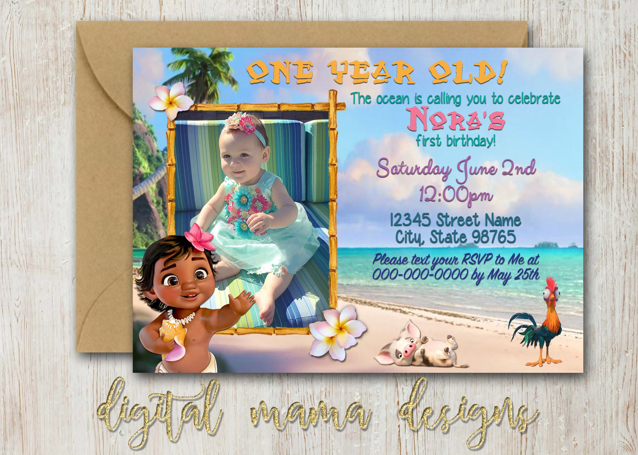 Moana Birthday Party Invitation Movie