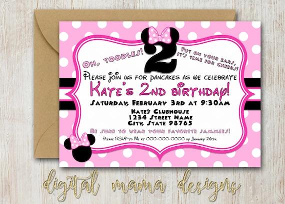 Minnie mouse birthday party invitation 2 year old minnie etsy image 0 filmwisefo