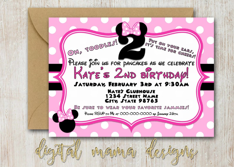 Minnie Mouse Birthday Party Invitation 2 Year Old