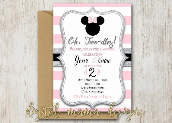 Minnie Mouse 2nd Party Invitation Minnie 2nd Birthday