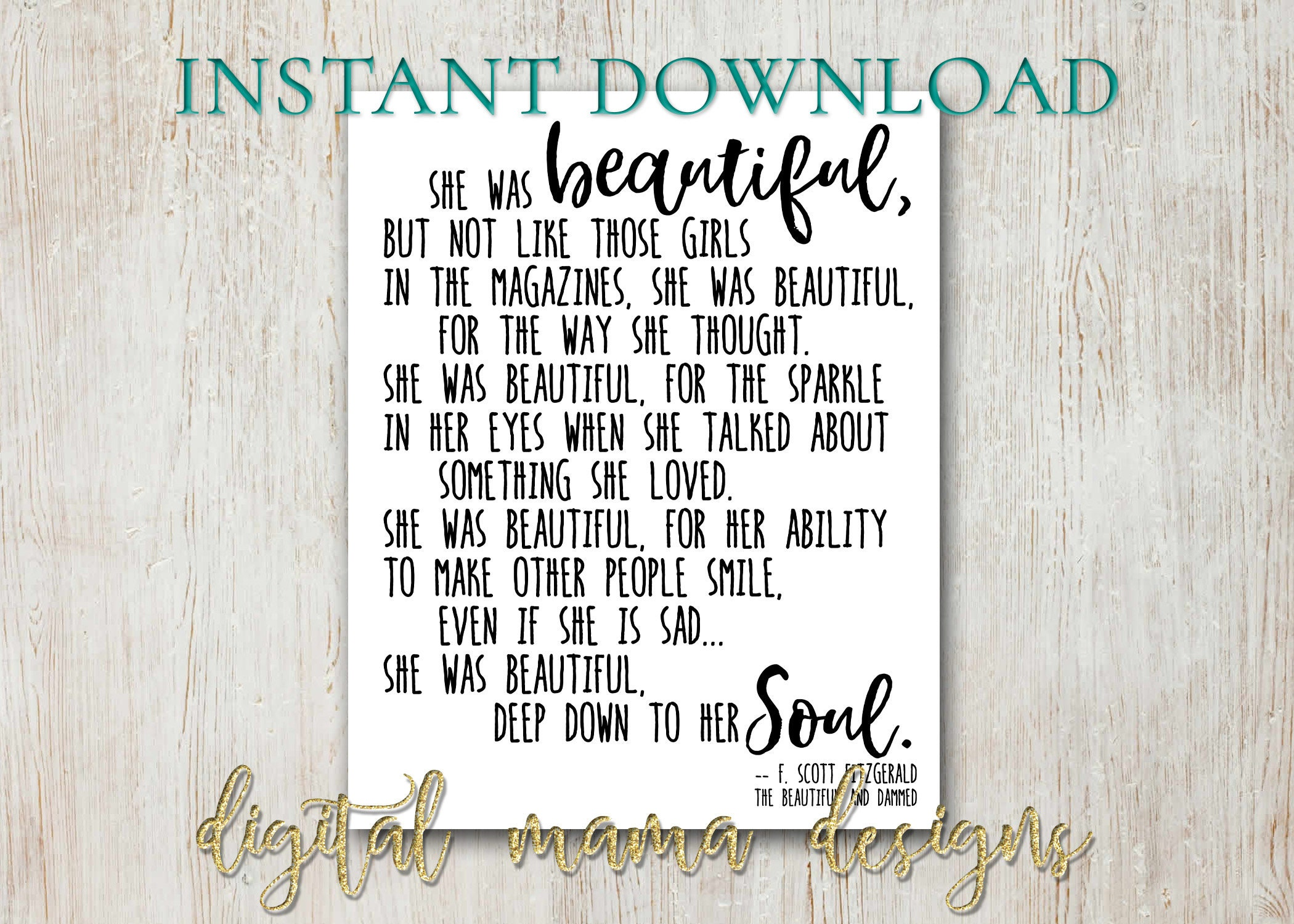 Instant Download She Was Beautiful Quote Poster F Scott Etsy