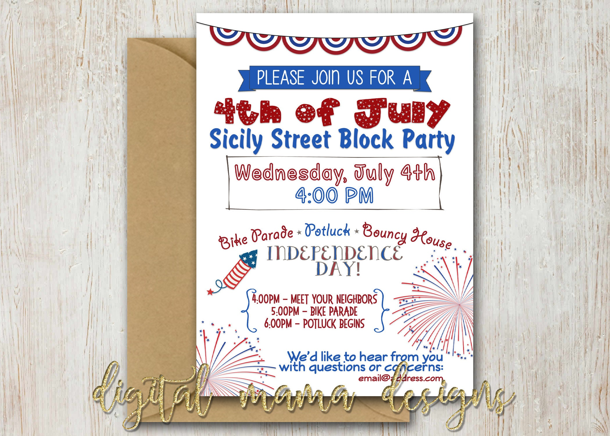 4th of July Block Party Invitation July 4th Party Invitation