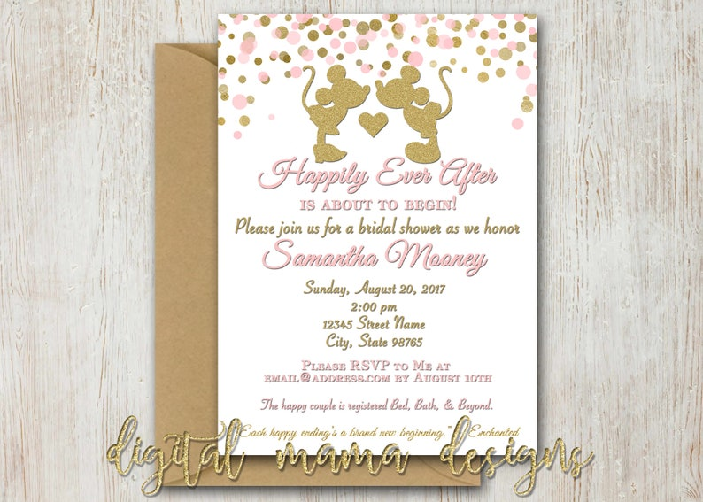 4da08131954 Mickey Minnie Bridal Shower Invitation Minnie Mouse Bridal